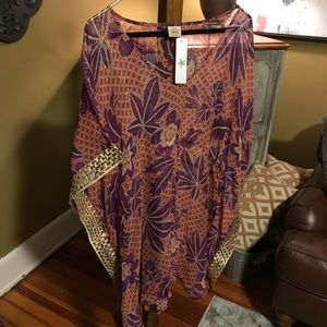 Lunazul Silk Kaftan Cover-Up One Size